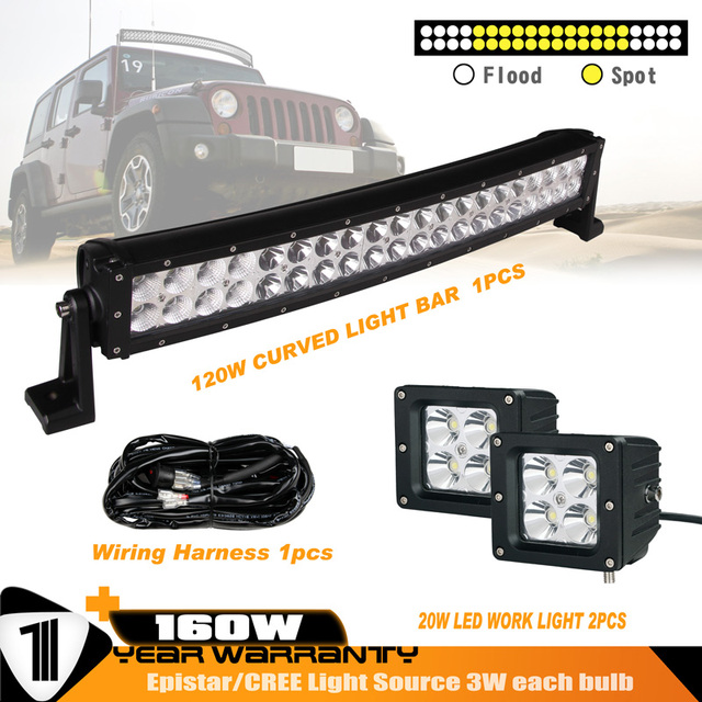 22INCH 120W Curved Double Row LED Light Bar Combo Beam 2PCS 20W Spot Beam Work Light_640x640 22inch 120w curved double row led light bar combo beam 2pcs 20w spot