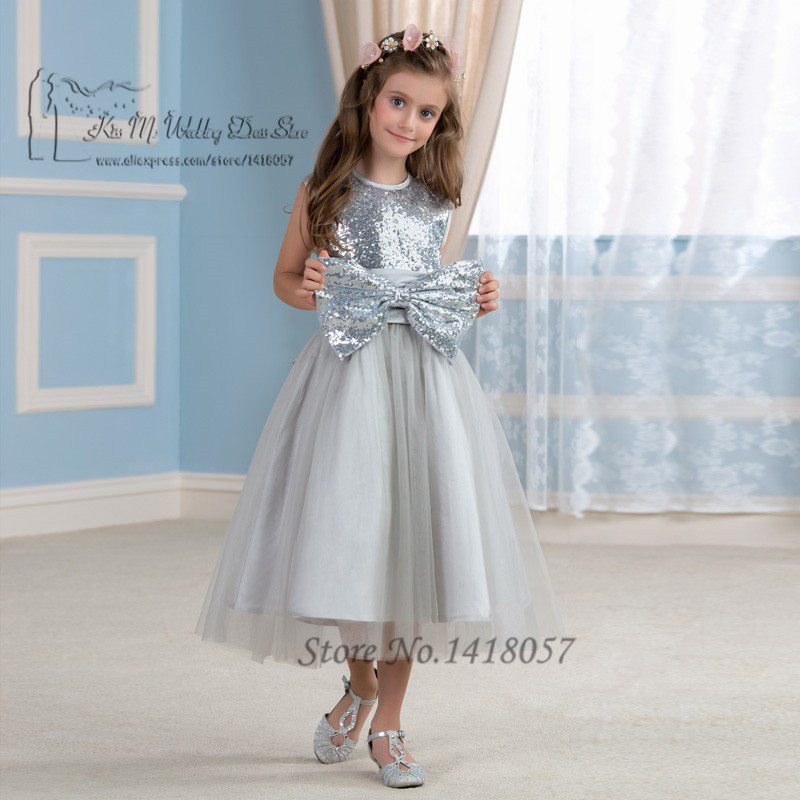 Silver Sparky First Communion Dresses for Girls Kids Evening Gowns ...