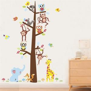 Настенные наклейки на стену с изображением леса, совы, обезьяны, жирафа, для детских комнат, домашнего декора, Мультяшные наклейки на стену в...