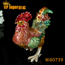 Colorful Souvenir Collectible Golden Chicken Figurine Fengshui Christmas Home Decor Luck Animal Sculpture Antique Metal Crafts