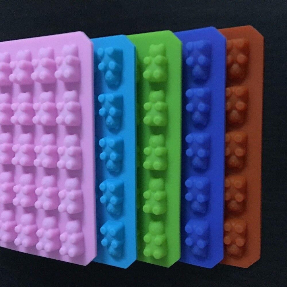 50 полость липких медведей жесткий конфеты шоколадные Силиконовые мыло для льда Куб Mold вечерние свадебные Baby Shower украшения выпечки Инструменты