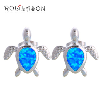 ROLILASON Lovely Tortoise Design Blue Fire Opal Silver Stamped Stud Earrings Gift for Ladies Fashion Jewelry OE598