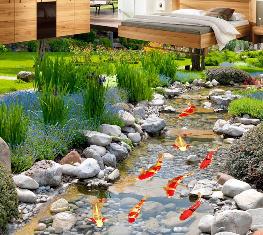 ФОТО Fresh green 3D floor plant grass custom adhesive tiles flooring self-adhesive waterproof 3d pvc floor