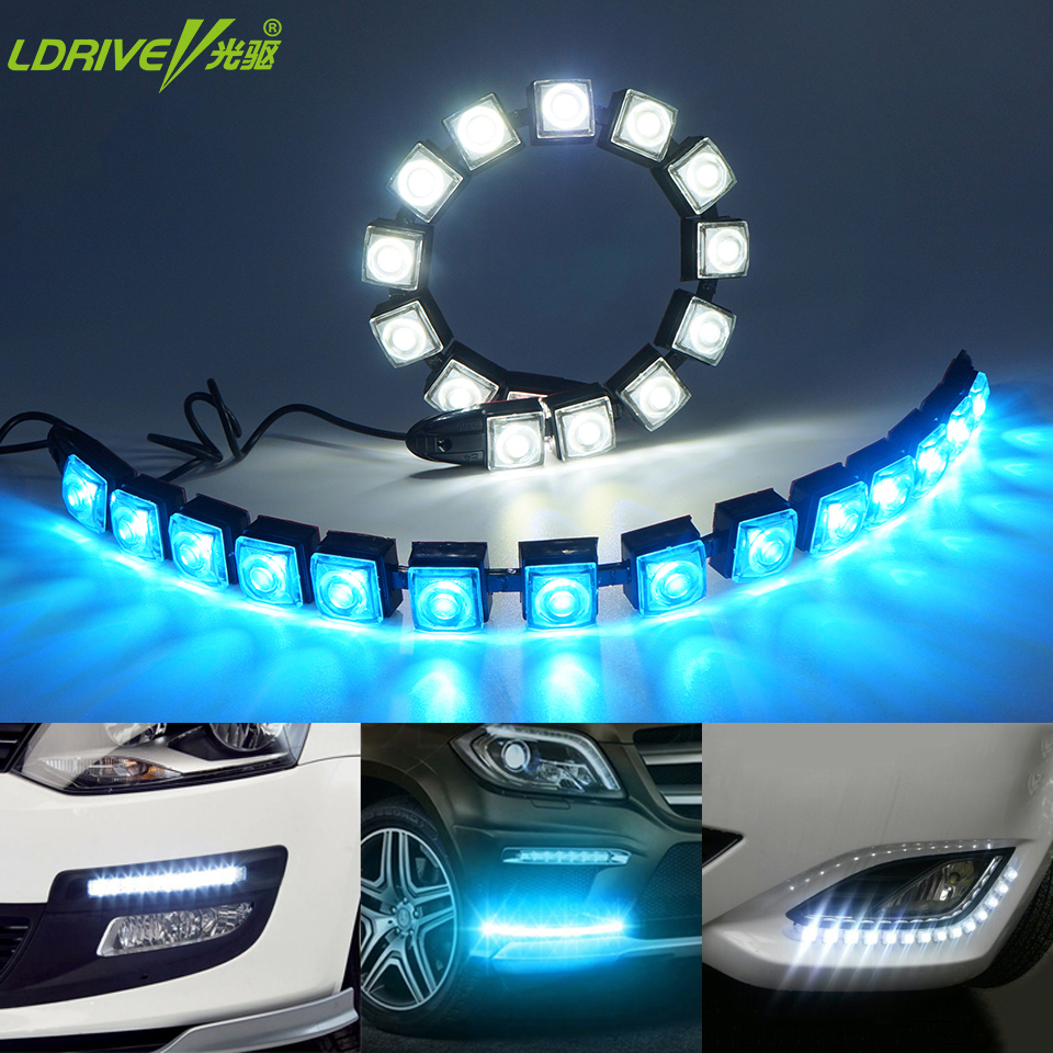Car COB LED DRL Driving Fog Light Flexible Daytime Running Light with Turn Signal For Toyota Nissan Hyundai Kia Mazda  Honda