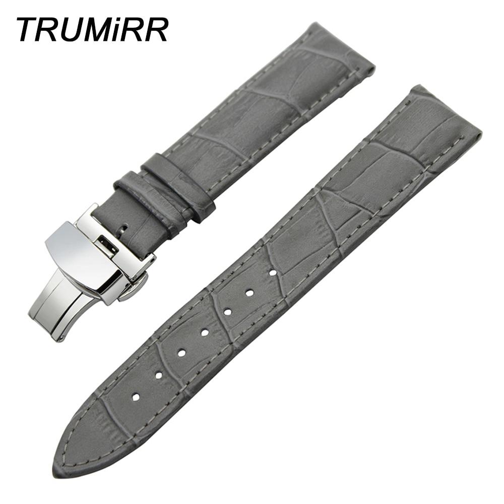 Genuine Leather Watchband Butterfly Buckle Strap for IWC Men Women Watch Band Wrist Belt Bracelet Grey Black 19mm 20mm 21mm 22mm