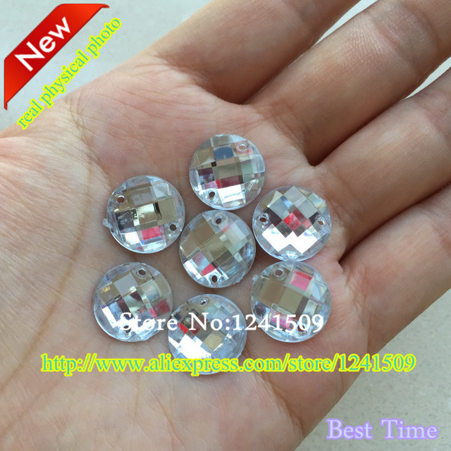 Free Shipping 14mm 100pcs White Color Round Acrylic Rhinestones Sewing  Dress Bags Shirt Hat Strass Clothes ea1a1a914b45