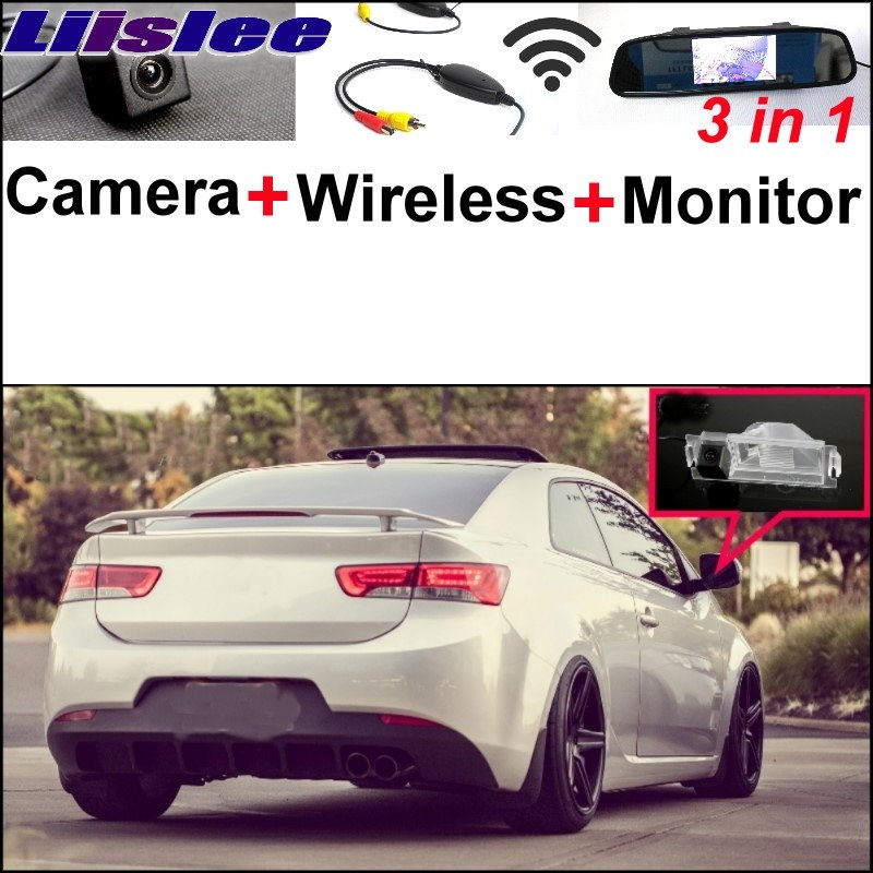 Liislee 3 in1 Special Camera Wireless Receiver Mirror Monitor Easy Parking System For KIA K3 Cerato Forte Coupe Model 2008~2017 wireless pager system 433 92mhz wireless restaurant table buzzer with monitor and watch receiver 3 display 42 call button