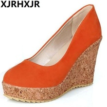 XJRHXJR Brand New Fashion Slip On Round Toe Wedges Women Pumps Spring / Autumn 4-color Wedding Shoes Large Size 34-43
