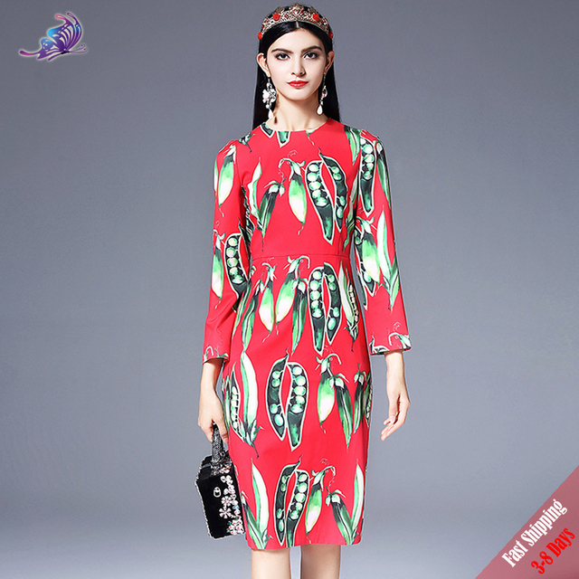 1843d00f7e2 High Quality New 2018 Runway Fashion Designer Dress Women s Spring Long  Sleeve Vegetables Pea Printed Elegant Red Dress Free DHL