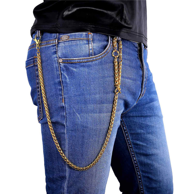 U7 Punk Rock Cowboy Heavy Pants Wallet Chain Gold/Black Gun Plated Stainless steel Purse Chain Waist Accessories BC104