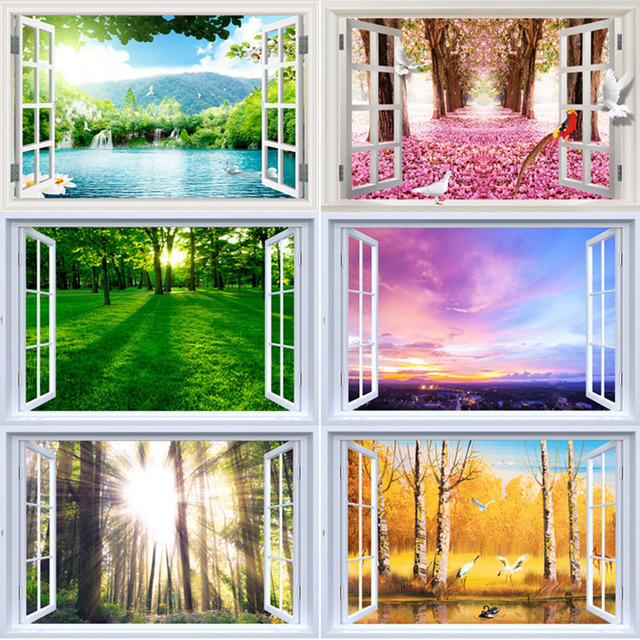 Aliexpress.com : Acquista Creativo adesivi murali paesaggio living ...