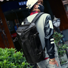 Large Capacity Travel Bag Pu Leather Drum Backpack Men Multifunction Bags Bucket Shoulder Bag Unisex