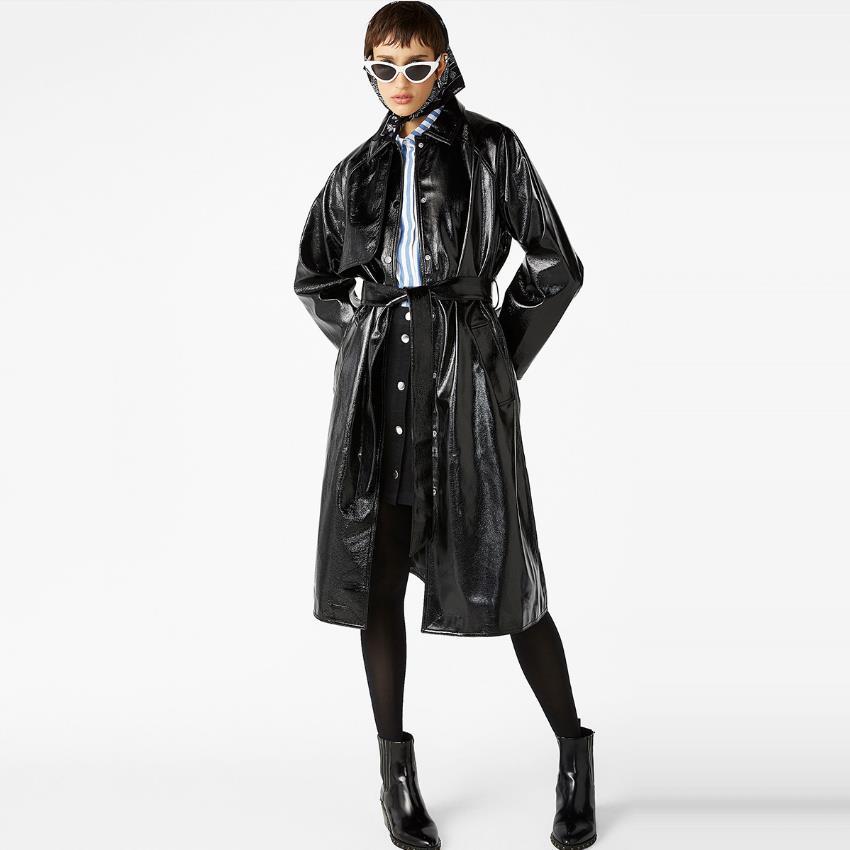 En Livraison Vestes Style Femelle Verni Rue Longue Directe Pu Brillant Mode Marque Mince Veste Black Était Wq562 Cuir ZIqvfvRw