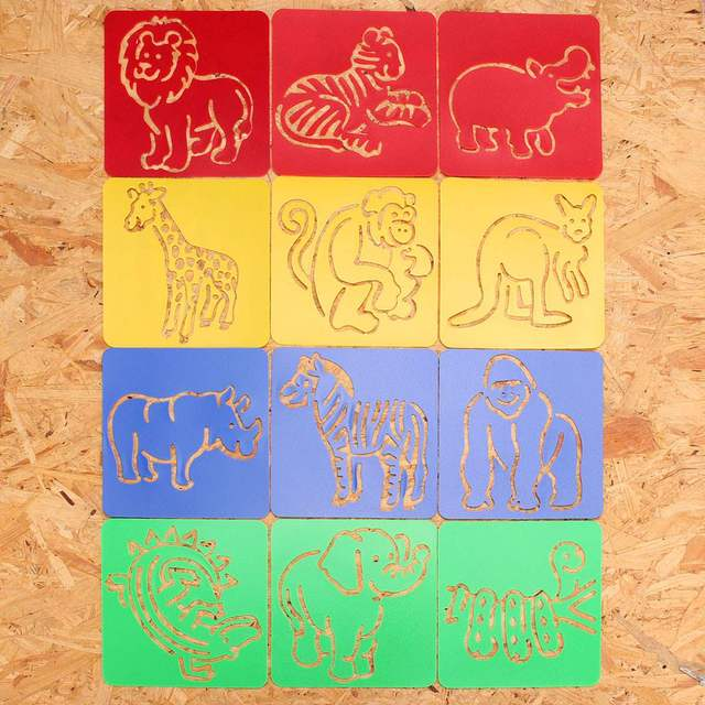 12pcs animal shape zoo oppssed painting children favor drawing