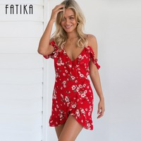 FATIKA 2017 New Arrival Women Summer Beach Casual Dress Sexy Off Shoulder Flower Print V Neck