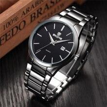 Skone reloj del negocio de los hombres relojes de marca de lujo de acero completo negro auto fecha de cuarzo reloj masculino impermeable reloj casual