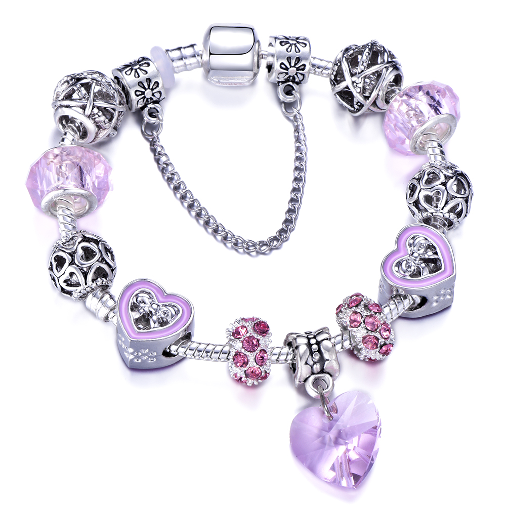 Queen Jewelry Love Heart Charm Bracelet with Pink Crystal Glass Beads Brand Bracelets&Bangles For Women Engagement Gift