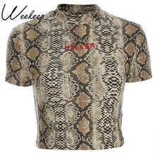 Weekeep Women Sexy Bodycon Snake Print t shirt Summer Letter Print Cropped tshirt 2019 Streetwear O-neck t shirt women Crop Top