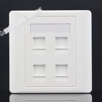 Wall Socket 4 PortS Network LAN Three Ports CAT6 RJ45 One RJ11 Telephone Panel Faceplate Outlet