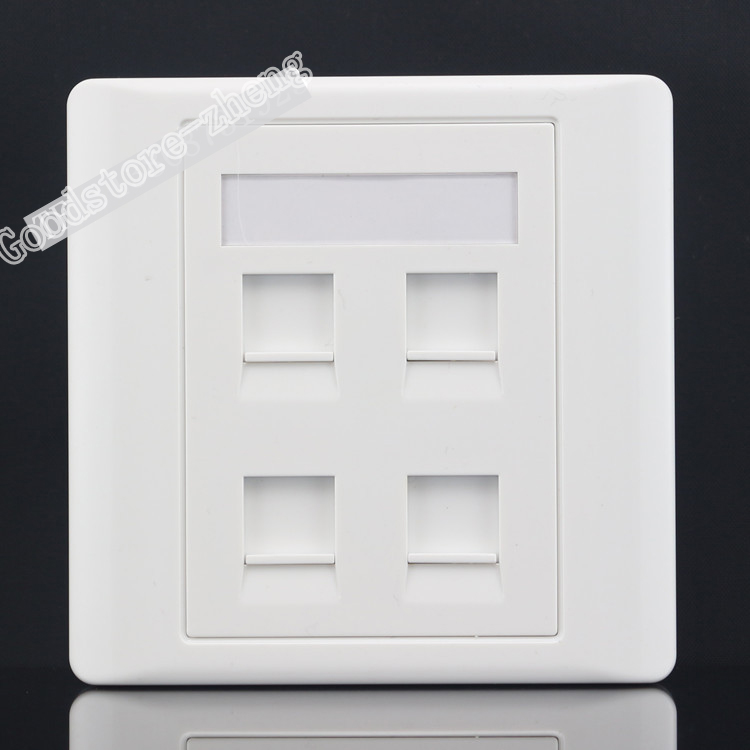 Wall Socket 4 PortS Network LAN Three Ports CAT6 RJ45 & One RJ11 Telephone Panel Faceplate Outlet Wholesale Lots atlantic brand double tel socket luxury wall telephone outlet acrylic crystal mirror panel electrical jack