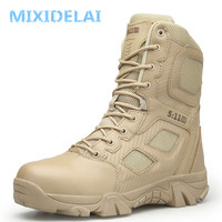 MIXIDELAI Size 39 47 Desert Tactical Mens Boots Wear resisting Army Boots Men Waterproof Outdoor Hiking Men Combat Ankle Boots