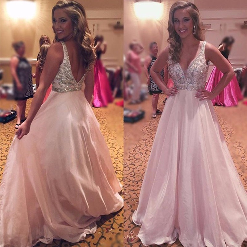 Sexy Deep V Neck Backless Pink Long Prom Dress Unique Appliques ...