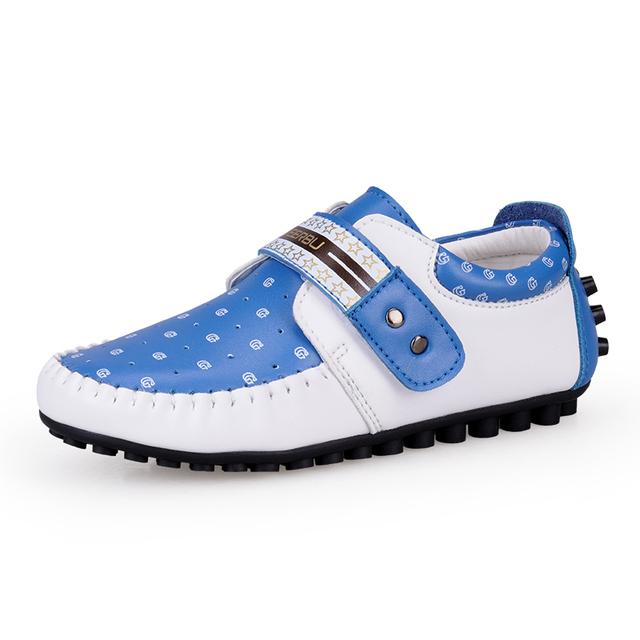 Tamanho 26-37 crianças única shoes crianças tênis para meninos e meninas apartamentos casuais couro do couro macio de alta qualidade-solado shoes