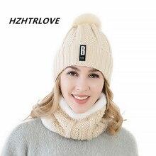 Di alta Qualità Lettera B Aggiungi Lana Pon Pon di Pelliccia Cappelli  Invernali Skullies Beanie Per Le Donne di Lana Sciarpa Mas. e3663daa259e