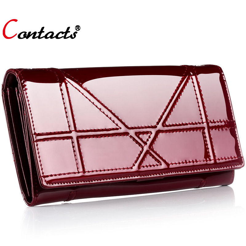 CONTACT S Women wallets and purse plaid genuine leather wallet female clutch bag phone coin purse