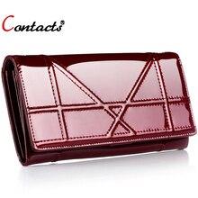 CONTACT'S Frauen brieftaschen und geldbeutel plaid echtem leder geldbörse weiblichen handtasche telefon geldbörse kartenhalter geld tasche mode