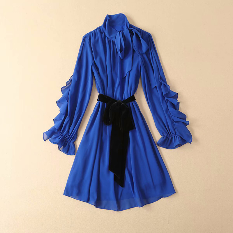 HIGH QUALITY New Fashion 2019 Runway Dress Women s Long Sleeve Bow Collar Lacing Belt Ruffle