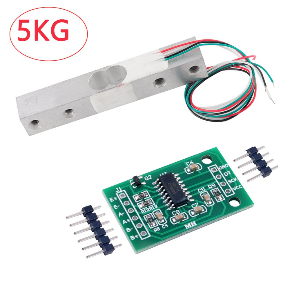 5KG Scale Load Cell Weight Weighing Sensor Module+HX711 Weight Sensor 24bits AD Module For Arduino RCmall