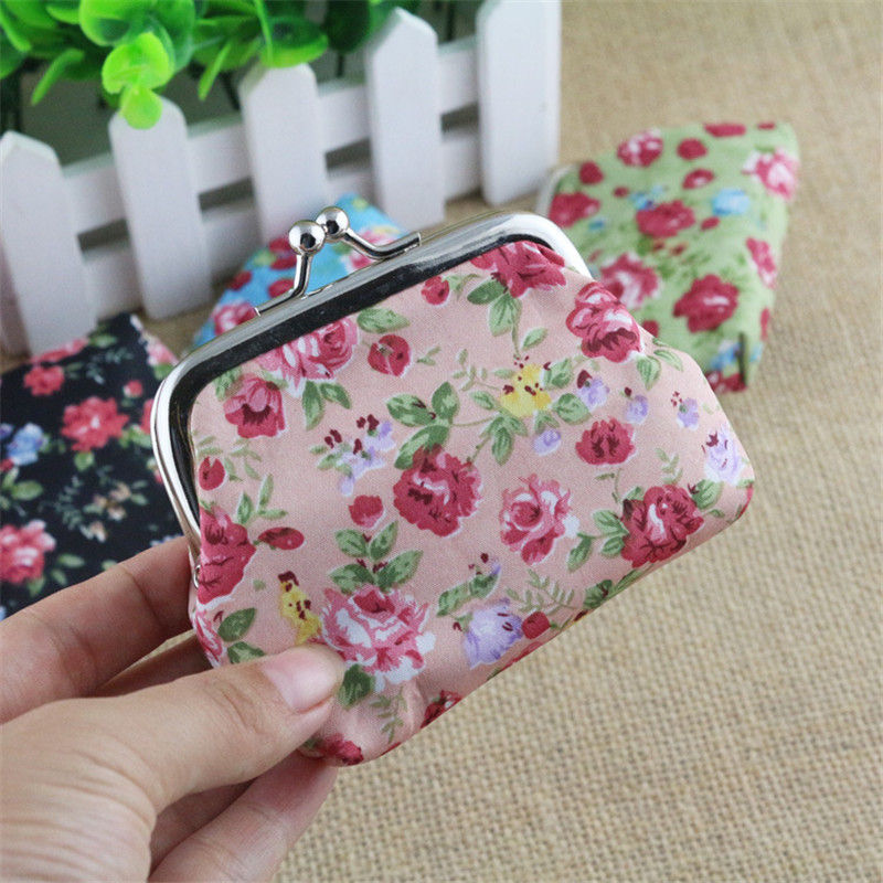 Mini Rose Printing Girls Coin Purses Women Zero Wallet Small Change Purse Hasp Coin Money Key Bag Wallet Wedding Candy Gift Bag coin purses the movie aladdin and the magic lamp pattern lamp zero wallet coin bag children birthday gift lqb1058