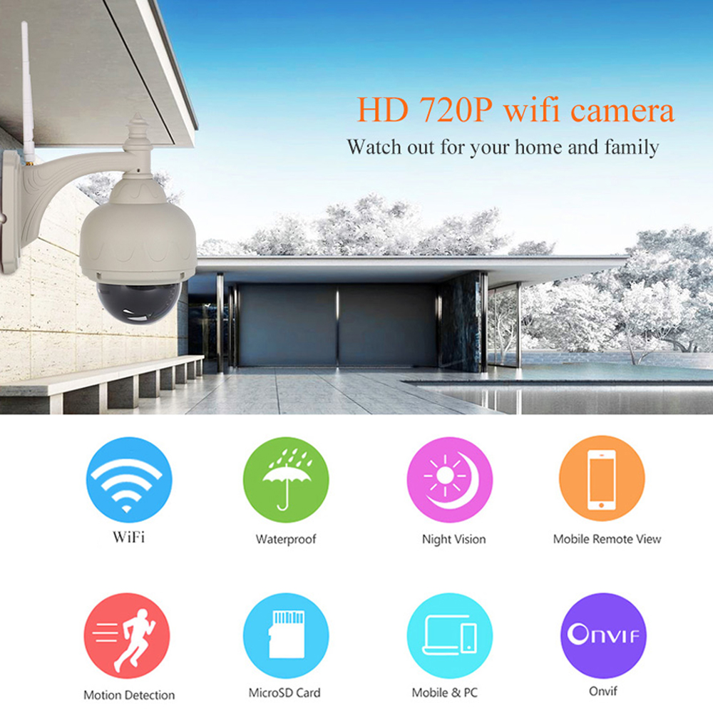 Wanscam HW0038 Waterproof 720P IR Night vision Motion Dection Onvif IP CCTV Dome Security Camera Wireless WIFI TF Card Slot