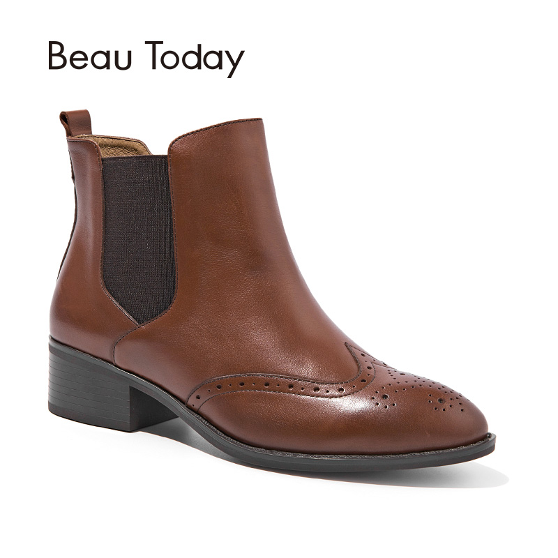 BeauToday Women Chelsea Boots Brand Top Quality Calf Leather Spring Autumn Ankle Length Ladies Brogue Boots