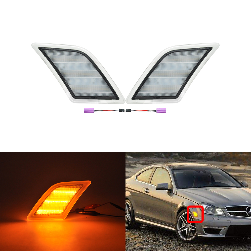 Front CANBus Amber Led Side Marker Light Turn Signal Lamp For Benz W204 US <font><b>C300</b></font> C350 C63 AMG SL65 AMG Car-Styling Smoke Clear image