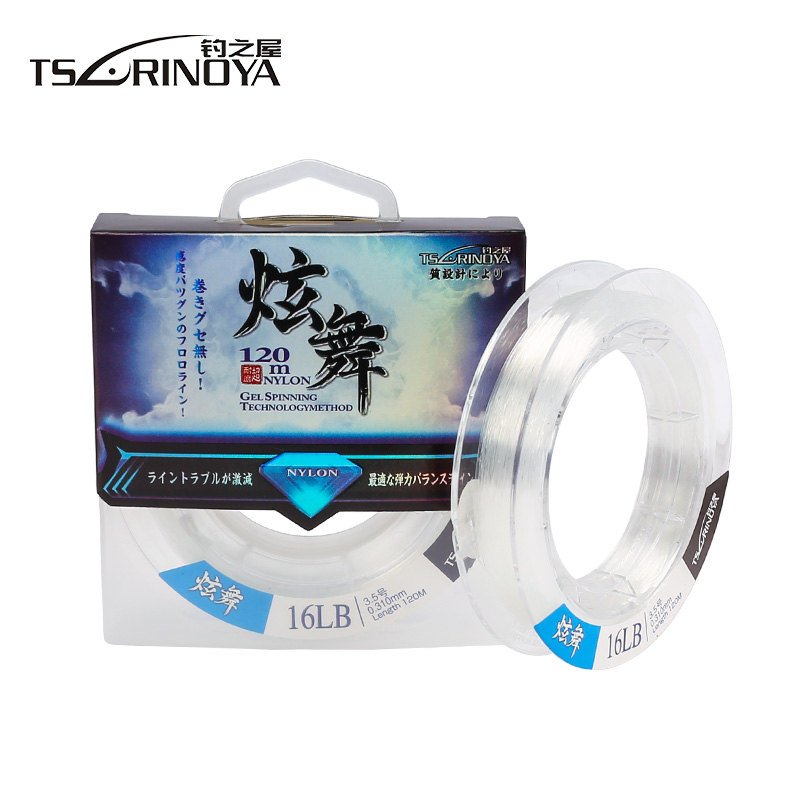 TSURINOYA Super Power 120m Nylon Fishing Line 6-16LB Fil De Peche Nylon Japan Monofilame ...