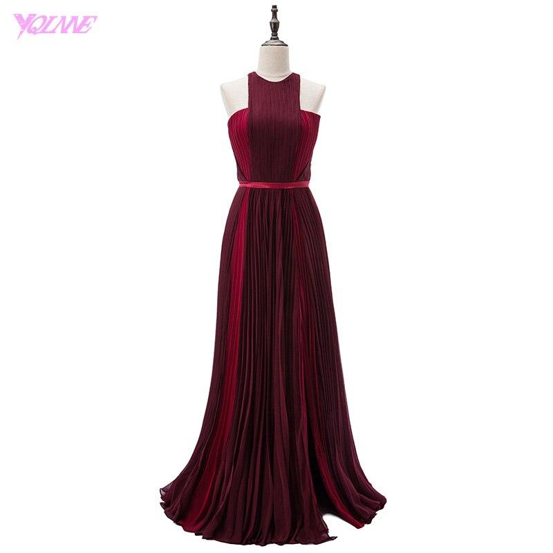 YQLNNE Blake Lively Red Carpet Celebrity Dresses Burgundy Long Evening Gown Halter Crepe Split Runway Fashion Dress