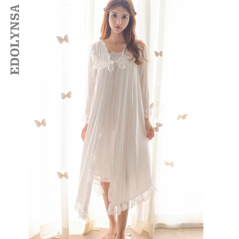 3c5bb4d9a Detail Feedback Questions about Two 2 Pieces Sleepwear Autumn Women Robe  Gown Sets Lace Nightdress Bathrobe Negligee Set Home Wear Elegant Peignoir  Set T286 ...