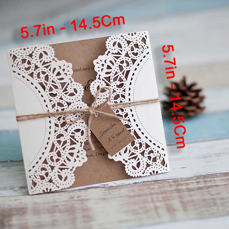 10 Set DIY Send Little Cards Design Gears Lace Wedding Invitations Cards Flower Pattern Laser Cut Paper Invite Customize