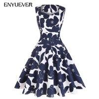 Enyuever Casual Dress Cotton Vestido Floral Print Tunic Midi Swing Robe Vintage 50s Rockabilly Dress Retro Womens Sun Dresses