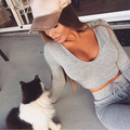 HEYounGIRL 2017  Autumn Women Casual Set Clothing Short Sweatshirt + Hollow Out Pants 2 Pieces Set Tracksuit Hoodies Streetwear