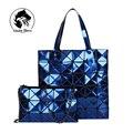 2016 Nova Moda Feminina Pérola Saco de Diamante Malha Bolsas Geometria Bolsa Acolchoada Geométrica Mosaico Bolsa de Ombro Composite Bag