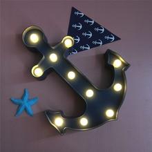 Cool Anchor Shape Childrens LED Night Light Dark Blue Pirate Sailor Lamp bedroom Decoration Switch Cosplay kids night light
