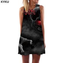KYKU Skull Dress Women Black Tank Gothic Mini Punk Rock Sundress Sexy Womens Clothing Summer Wrap Fashion