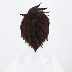 Image 4 - Game OW Overwatch Tracer Short Brown Cosplay Wig Synthetic Halloween Costume Party Stage Play Brown Hair Wigs