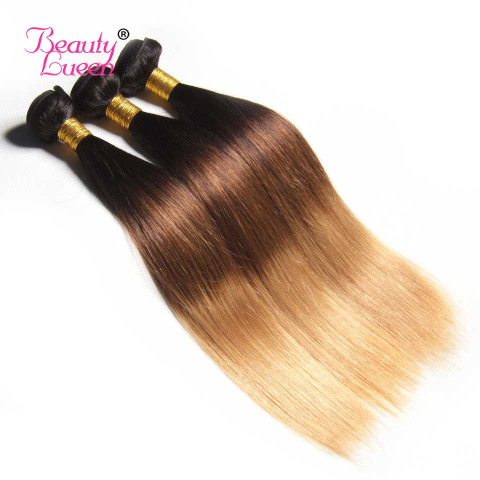 Ombre Brazilian Straight Hair Weave 3 Bundles With Closure T1B427 3 Tone Honey Blond Ombre Human Hair With Closure Remy Hair (33)