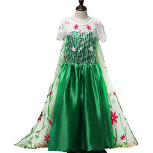 Retail Princess Elsa and Anna Dresses Party Princess Costume Fever Cosplay Elsa Dresses Girls Kids Dance Lace Cape Green Dress(China)