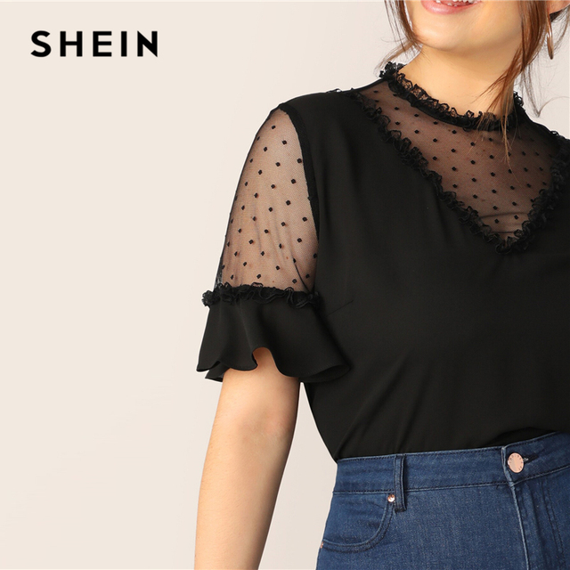 SHEIN Plus Size Black Lace Frill And Mesh Insert Bell Sleeve Top Blouse 2019 Women Summer Elegant Flounce Sleeve Sheer Blouses 4