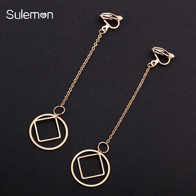 Us 1 54 40 Off Geometric Metal Clip Earrings Without Piercing Women No Ear Hole Earring Rhombus Round Simple Long Jewelry Ce37 In